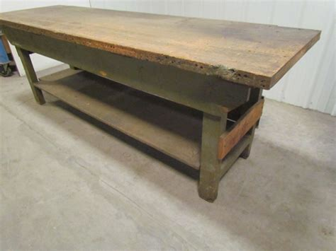 old wooden work bench vintage industrial butcher block workbench table wooden