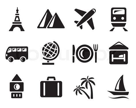 Travel icon set stock vector colourbox