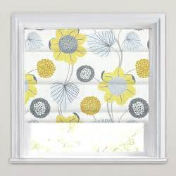 Yellow gold grey amp white large modern flowers amp leaves roman blinds