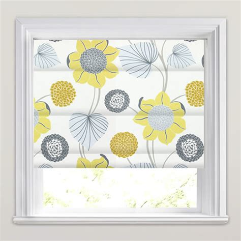 Kitchen Roman Shade - yellow gold grey amp white large modern flowers amp leaves roman blinds