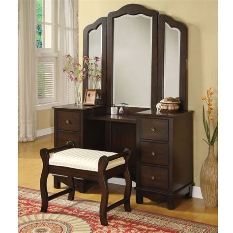 makeup vanity table with mirror annapolis 3 pcs makeup vanity set tri folding mirror bench 6 drawers wood brown ebay