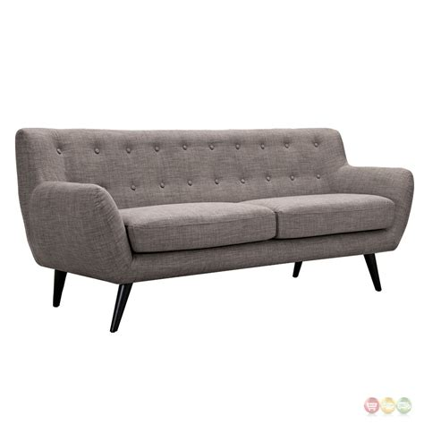 ida modern grey button tufted upholstered sofa with black