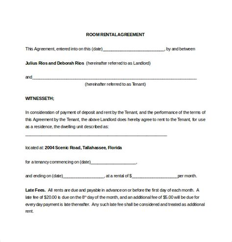 rent a room agreement template lease agreement template 15 free word pdf documents