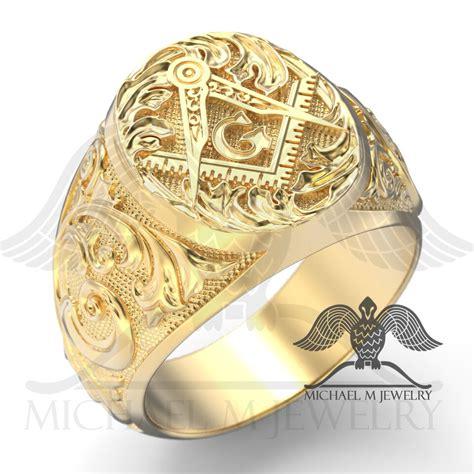 Handmade Masonic Rings - masonic ring in 14k yellow gold custommade handmade