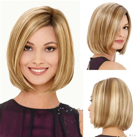 short hairstyles light brown with blond highlights classical piano color light brown mix blonde short bob wig