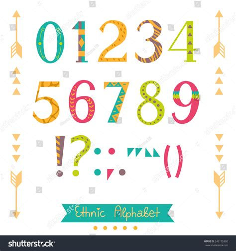 design font ethnic colorful ethnic numbers symbols punctuation marks stock