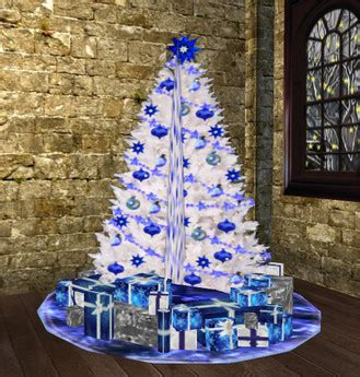 Second Life Marketplace Blue N White Christmas Decor Set White Tree With Blue Lights