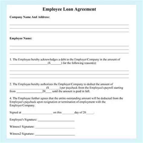 agreement between employer and employee template employee loan agreement templates free exles and formats