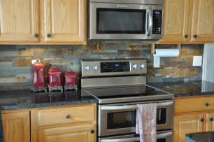 Ledger Stone Backsplash - granite countertops and tile backsplash ideas eclectic kitchen indianapolis by supreme