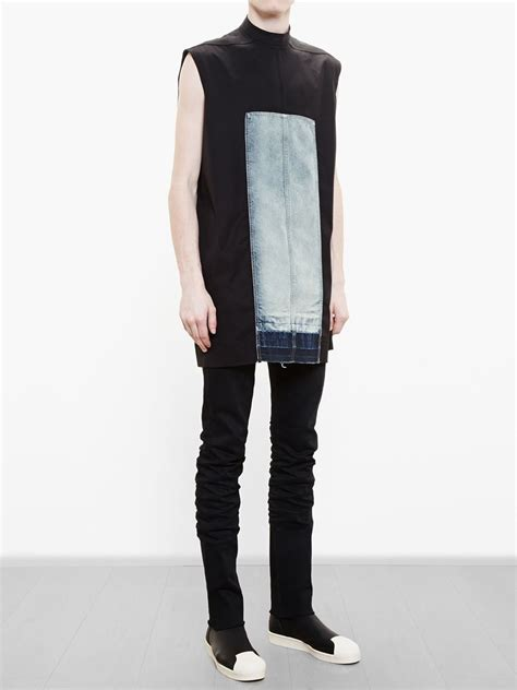 Denim Panel Top visions of the future rick owens sleeveless top with