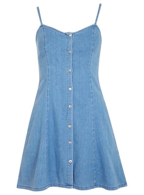 Imported Strappyt Dress Light Wash Denim Strappy Dress Miss Selfridge Us