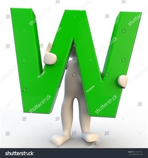 Character Holding Letter 3d human character holding green letter w stock photo