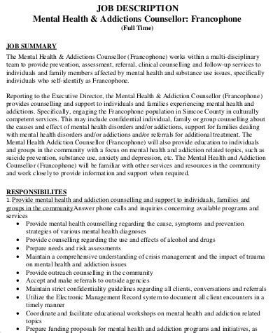 mental health counselor description sle 8 exles in word pdf