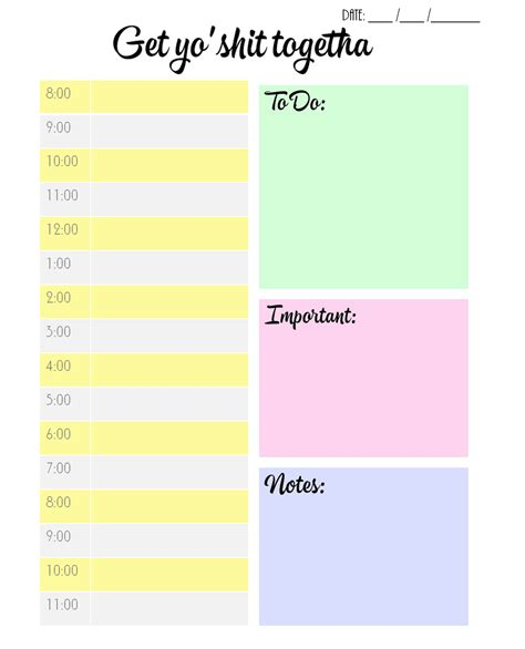 Daily Planners And Organizers Templates