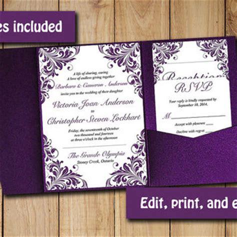 eggplant pocket wedding invitations best purple pocket invitations products on wanelo