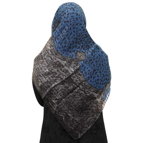 blue patterned hijab blue cheetah print and gray snake skin pattern muslims