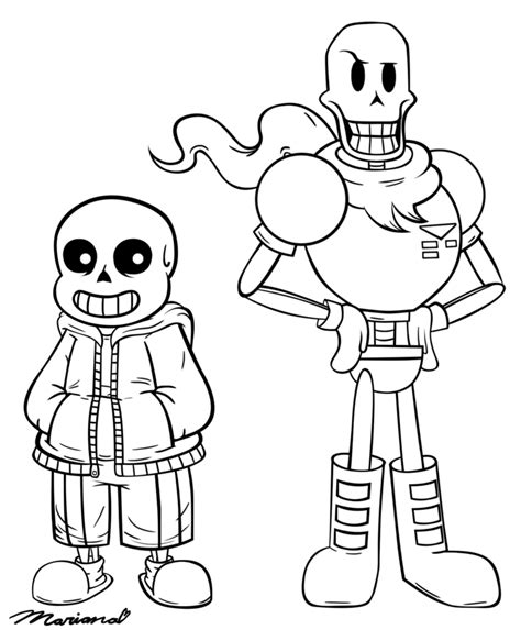 sans templates undertale sans papyrus and coloring pages sketch coloring page