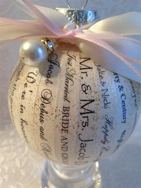 beautiful personalized wedding invitation christmas ornament and