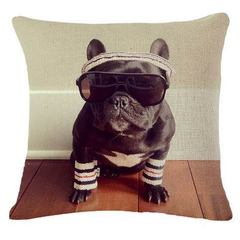 french pillows home decor french bulldog pattern cotton linen throw pillow case