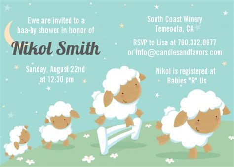 Sheep Baby Shower Invitations by Sheep Baby Shower Invitations Candles And Favors