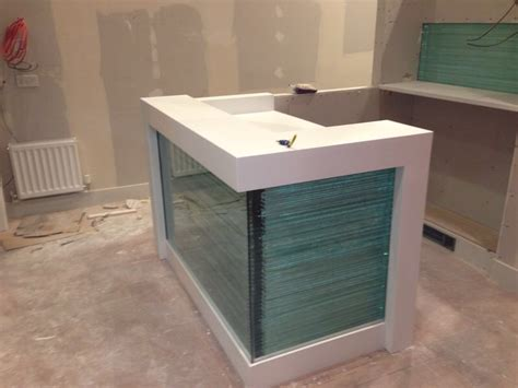 Glass Reception Desks Corian And Glass Reception Desk Bespoke Solid Surfaces Limited