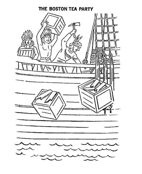 boston tea party coloring pages learn liberty s kids
