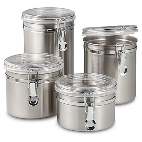 metal kitchen canisters oggi airtight stainless steel canisters with acrylic tops set of 4 bed bath beyond