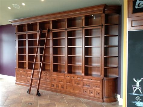 rolling ladder bookcase large custom bookcase with rolling ladder traditional other metro by the halifax cabinetry