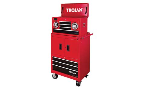 trojan tool chest and cabinet set trojan tool chest and trolley with bluetooth speakers