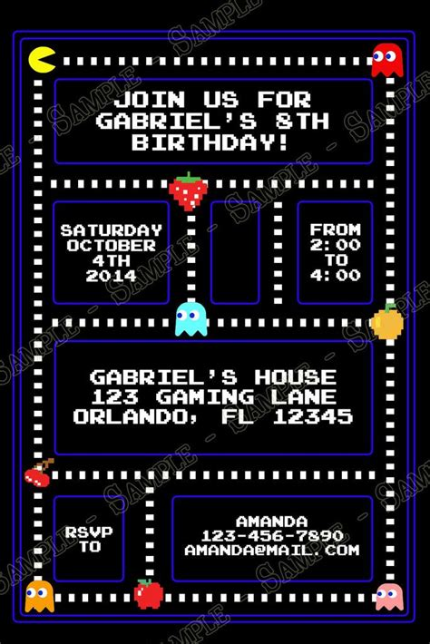 Pac Birthday Invitation Template Best 25 Pac Man Party Ideas On Pinterest Pac Man Videos Pacman Games And Man Pacman