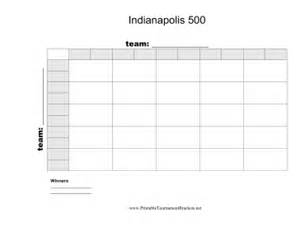 Open Office Football Pool Printable 25 Square Indianapolis 500 Grid