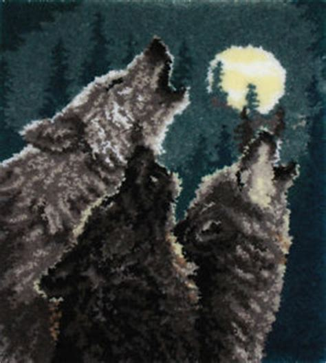 wolf latch hook rug kits in harmony wolf latch hook rug wall hanging kit 30 quot x32 quot mcg textiles 37778 new ebay