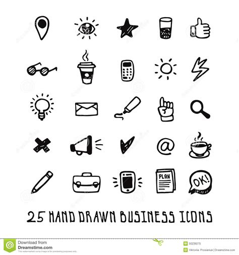 doodle 4 email address black doodle business icons set stock vector