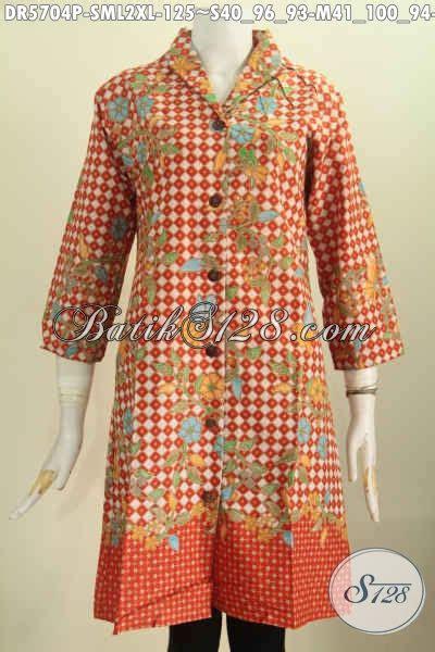 Baju Langsung 2 aneka busana batik wanita terkini baju batik kerah langsung motif trendy proses printing bahan