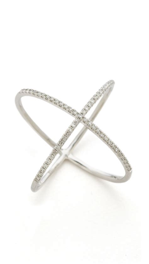 ef collection pave gold x ring white gold clear