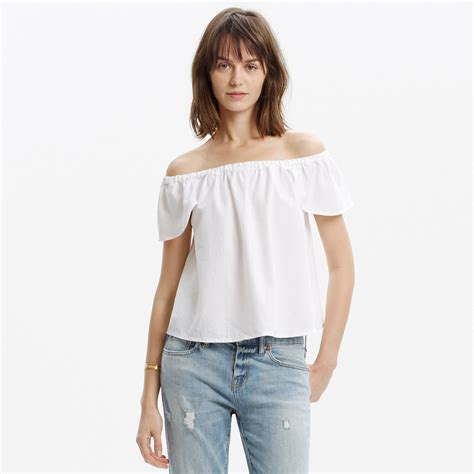 Anderson Bow Window madewell off the shoulder top in white lyst