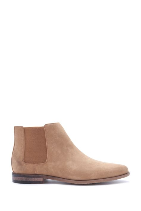 forever 21 faux suede chelsea boots in brown for