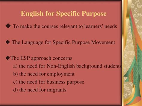 For Specific Purpose ppt from syllabus design to curriculum design powerpoint