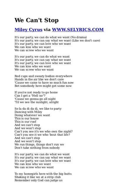miley cyrus we cant stop lyrics 500 error the page could not be loaded