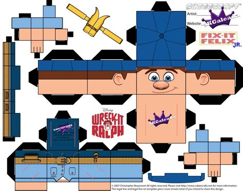 Disney Papercraft Templates - disney felix jr cubeecraft wreck it ralph template by
