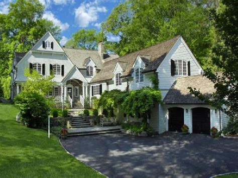 connecticut house his and her garage traditional home exterior
