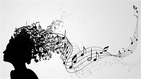 music note head silhouette prezi template with a music concept various notes flying