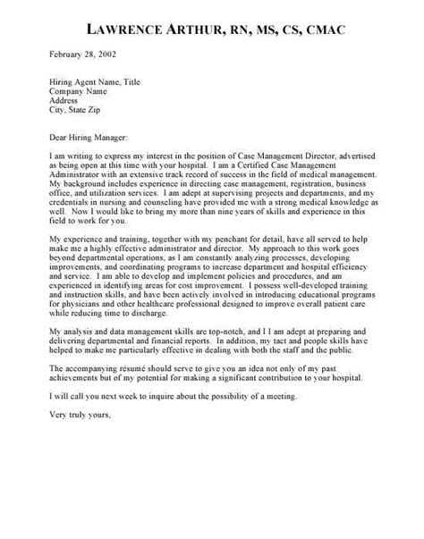 clinical manager cover letter templates