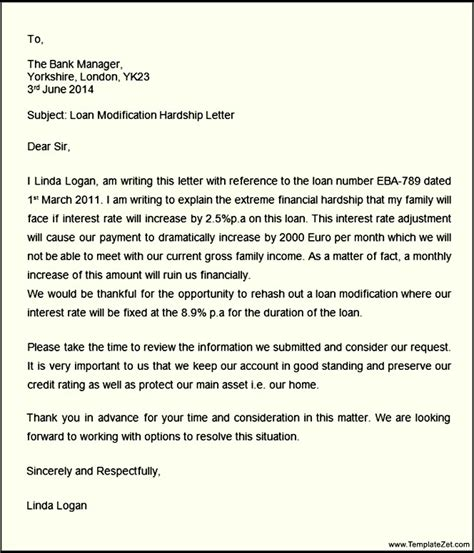Hardship Letter Sle For Modification On Home Hardship Letter Loan Modification Templatezet