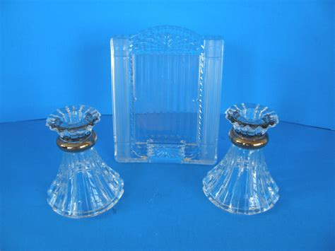 set   clear glass candle stick holders   crystal