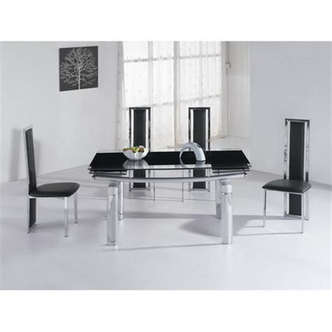 Extending Black Glass Dining Table And 6 Chairs Set Mega Extending Glass Dining Table Black 6 X D231 Chairs Set
