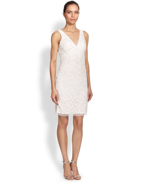 beaded cocktail dress lyst aidan mattox beaded v neck cocktail dress in white