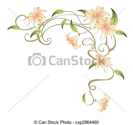 flower and vines drawing of beautiful flower in a white