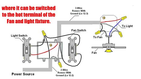 how to separate light and fan switches wiring diagram for ceiling fan with separate light switch