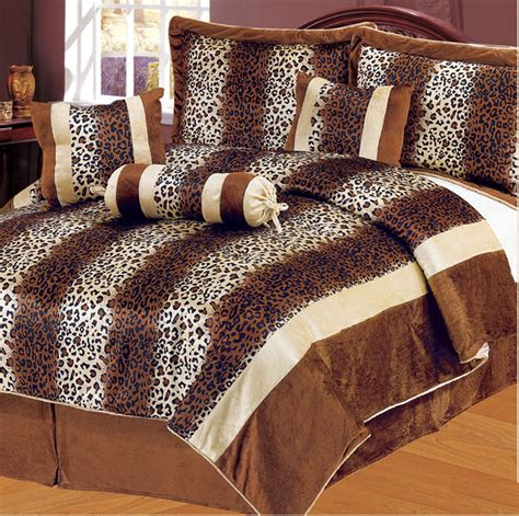 leopard print bedding sets 7pcs queen leopard brown micro fur comforter set ebay